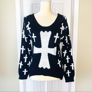 Forever 21 Black and White High Low Cross Sweater